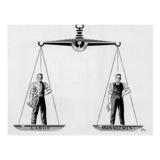 Vintage Scales of Justice, Labor vs Management Postcard