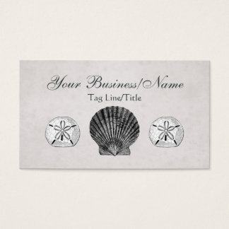 Vintage Scallop and Sand Dollar Business Card