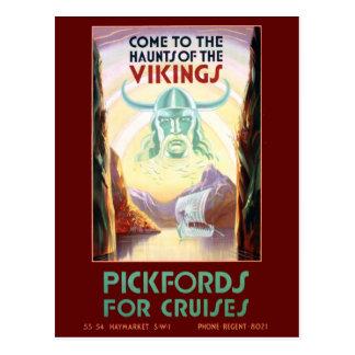 Vintage Scandinavia Vikings Cruise Travel Postcard