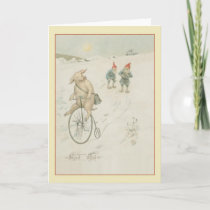 Vintage Scandinavian Gnome God Jul Christmas Card