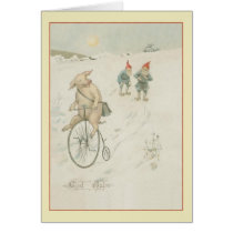 Vintage Scandinavian Gnome God Jul Christmas Card