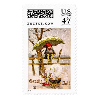 Vintage Scandinavian Jul Tomten 1901 Little Elf Stamp