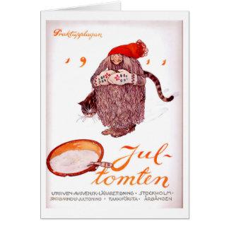 Vintage Scandinavian Jul Tomten 1911 by John Bauer Tarjeta De Felicitación