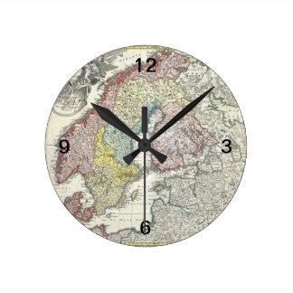 Vintage Scandinavian Map Round Wall Clocks