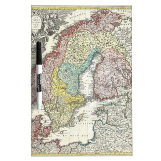 Vintage Scandinavian Map Dry-Erase Board