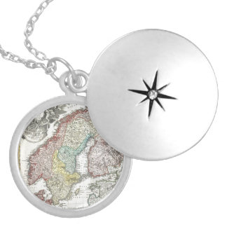 Vintage Scandinavian Map Round Locket Necklace
