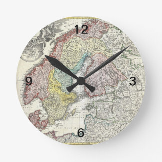 Vintage Scandinavian Map Round Clock