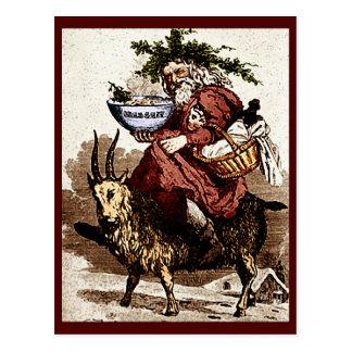 Vintage Scandinavian Santa & Christmas Goat Postcard