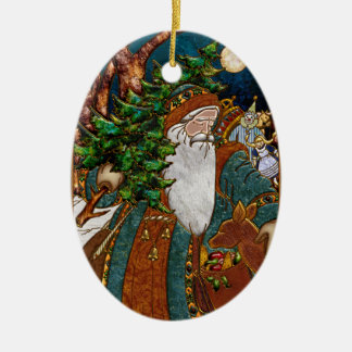 Vintage Scandinavian Santa Personalized Double-Sided Oval Ceramic Christmas Ornament