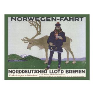 Vintage Scandinavian Travel Norwegian Man Reindeer Invite