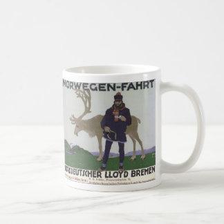 Vintage Scandinavian Travel Norwegian Man Reindeer Coffee Mug