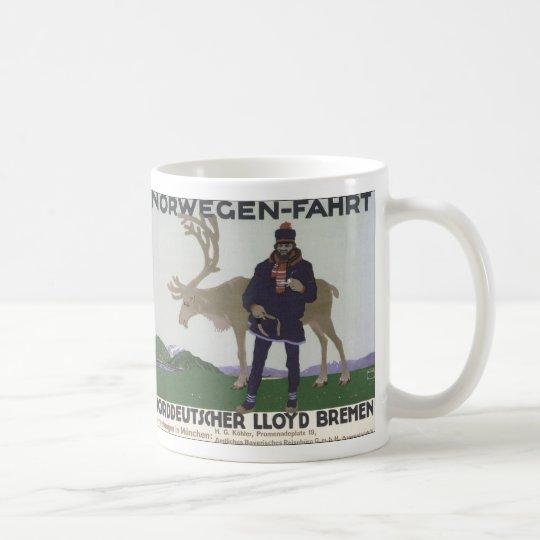 Vintage Scandinavian Travel to Norway Man Reindeer Coffee Mug