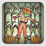 Vintage Scarecrow Square Stickers