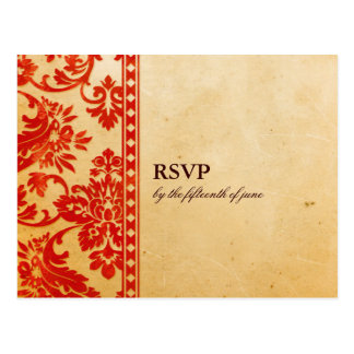 Vintage Scarlet Damask Lace Wedding RSVP Postcard