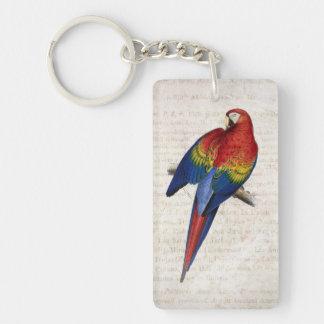 Vintage Scarlet Macaw Rectangular Acrylic Keychains