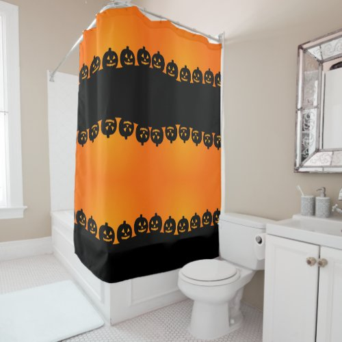 Scary Evil Pumpkin Shower Curtain