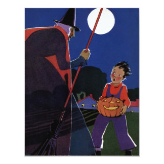 Vintage Scary Witch Child Pumpkin Halloween Party Invitations