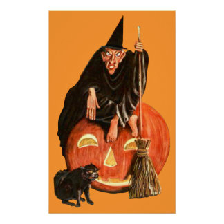 VINTAGE SCARY WITCH POSTER