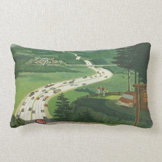 Vintage Scenic American Highways, Cars Road Trip Lumbar Pillow