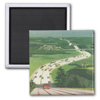 Vintage Scenic American Highways, Cars Road Trip Magnet