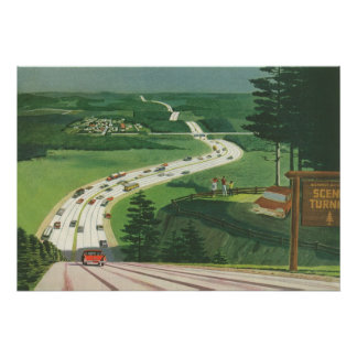 Vintage Scenic American Highways, Cars Road Trip Poster