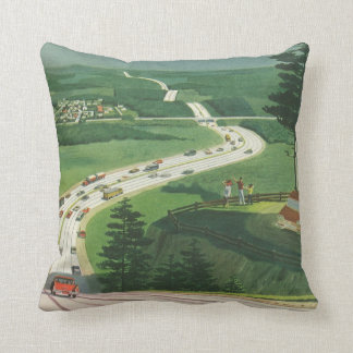 Vintage Scenic American Highways, Cars Road Trip Throw Pillows