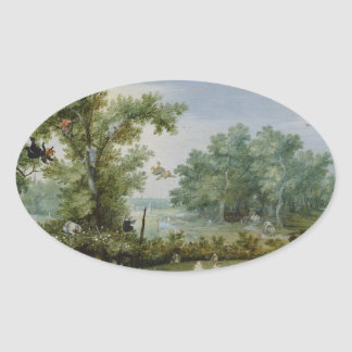 Vintage scenic painting oval sticker