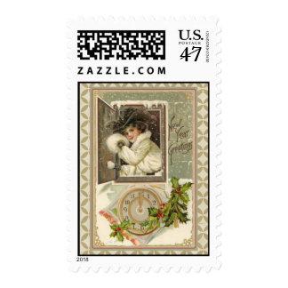 Vintage Schmucker New Year Lady in White Postage
