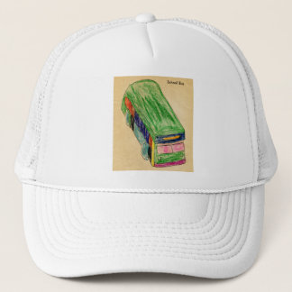 Vintage School Bus Kids Coloring Book Art Trucker Hat