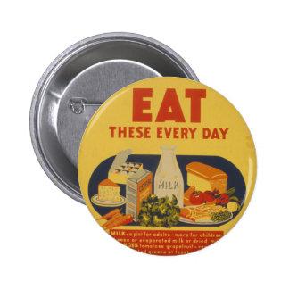 Vintage School Days Milk Poster Pinback Button