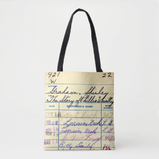 Vintage School Library Book Card teacher librarian Tote Bag