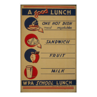 Vintage School Lunch Milk Poster