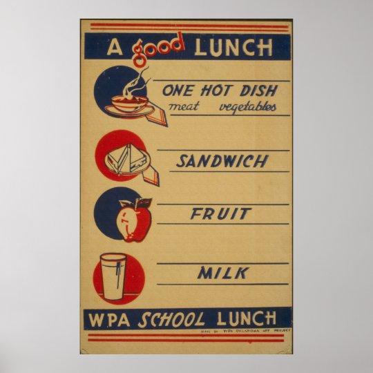 Vintage School Lunch Milk Poster
