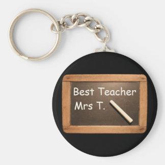 Vintage School Slate - Best Teacher Personalized Basic Round Button Keychain