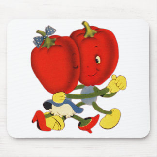 Vintage School Valentine Kitsch Red Peppers Dance Mouse Pad