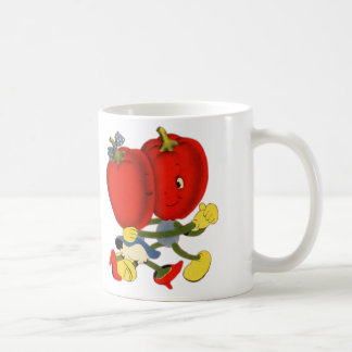 Vintage School Valentine Kitsch Red Peppers Dance Classic White Coffee Mug
