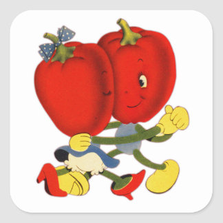 Vintage School Valentine Kitsch Red Peppers Dance Square Sticker