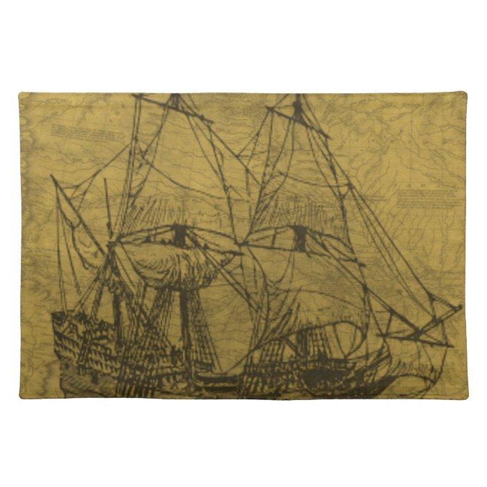 Vintage Schooner Cloth Placemat