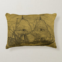 Vintage Schooner Decorative Pillow