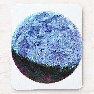 Vintage Sci Fi Blue Moon Lunar Illustration Mouse Pad