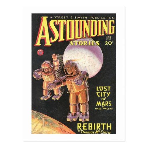 Vintage Sci Fi Comic Astounding Stories 1934 Retro Post Cards