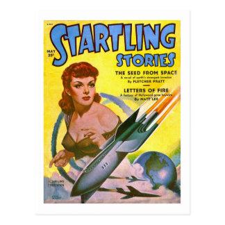 Vintage Sci Fi Comic Startling Stories Postcard