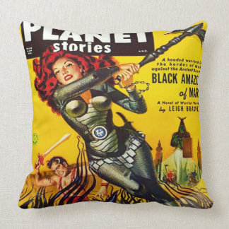 VINTAGE SCI FI (SCIENCE FICTION PLANET STORIES) THROW PILLOW
