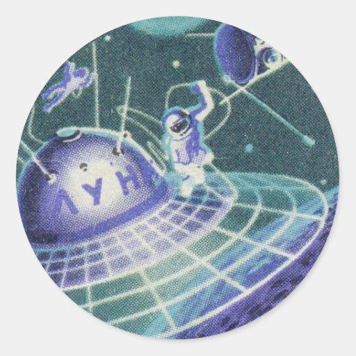 Vintage Sci Fi - viaje espacial/UFO Pegatina Redonda