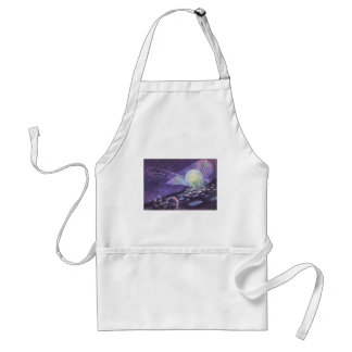 Vintage Science Fiction, a Glowing Orb with Aliens Adult Apron