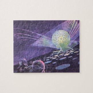 Vintage Science Fiction, a Glowing Orb with Aliens Jigsaw Puzzle