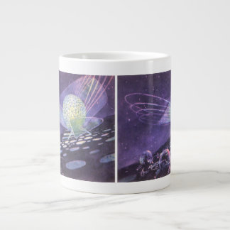 Vintage Science Fiction, a Glowing Orb with Aliens Large Coffee Mug
