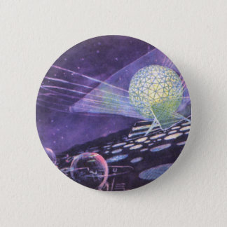 Vintage Science Fiction, a Glowing Orb with Aliens Pinback Button
