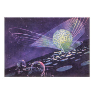 Vintage Science Fiction, a Glowing Orb with Aliens Poster