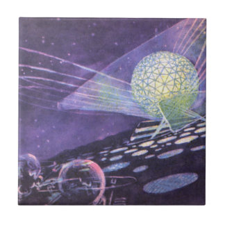 Vintage Science Fiction, a Glowing Orb with Aliens Tile